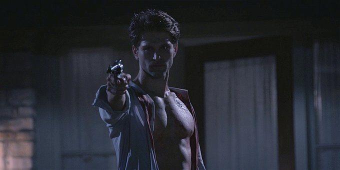 Walker shirtless Liam holding gun on Clint 1.13.