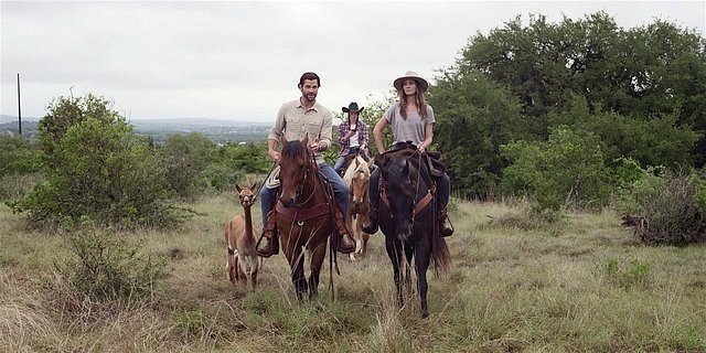 Walker Jared Padalecki riding bareback with his son August and daughter Stella.