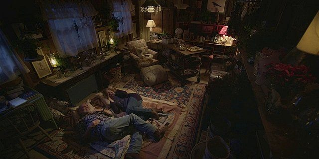 Walker Bonham and Abeline laying on living room floor talking about Hoyt.