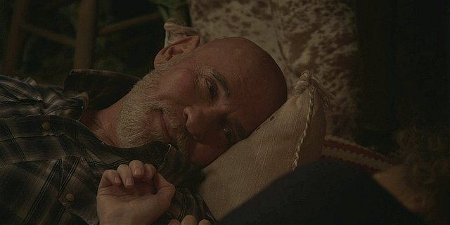 Walker Bonham Mitch Pileggi in bed with Abilene talking about his cancer.
