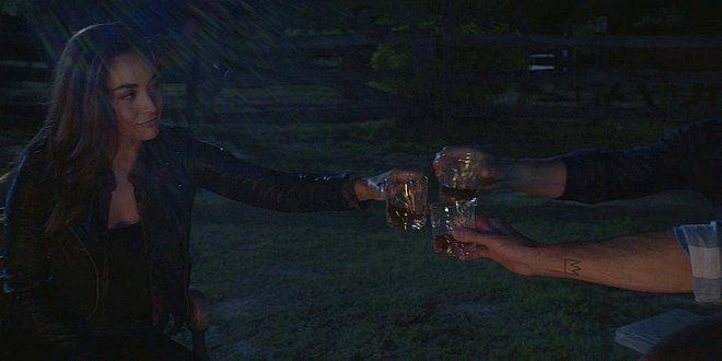 Walker Micki Cordell Liam around campfire drinking 1.15.