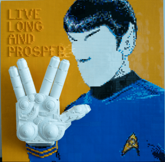 THird build of #talktrek leonard nimoy mister spock vulcan gretting lego build.