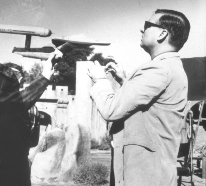 Gene ROddenberry on Star Trek set directing shatner nimoy