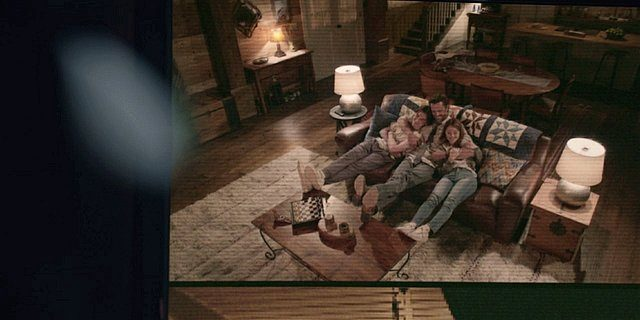 Walker tv monitor watching Cordell on couch hugging Augie and Stella Drive.